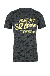 s.Oliver T-shirt met tekst grijs, Grijs