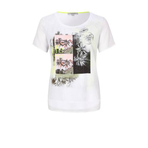 comma casual identity T-shirt met printopdruk wit