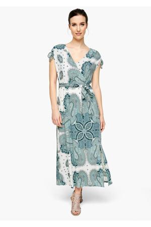 maxi jurk met all over print en ceintuur wit/blauw