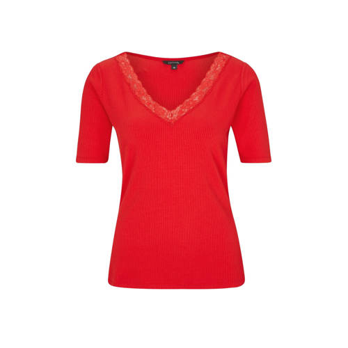 comma T-shirt met kant rood