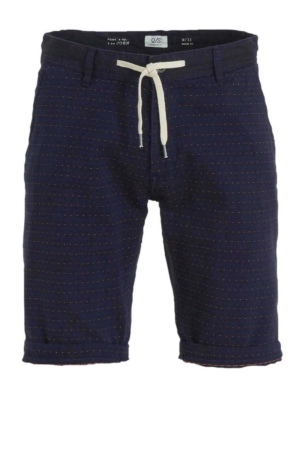 Q/S designed by regular fit bermuda met stippen donkerblauw, Donkerblauw