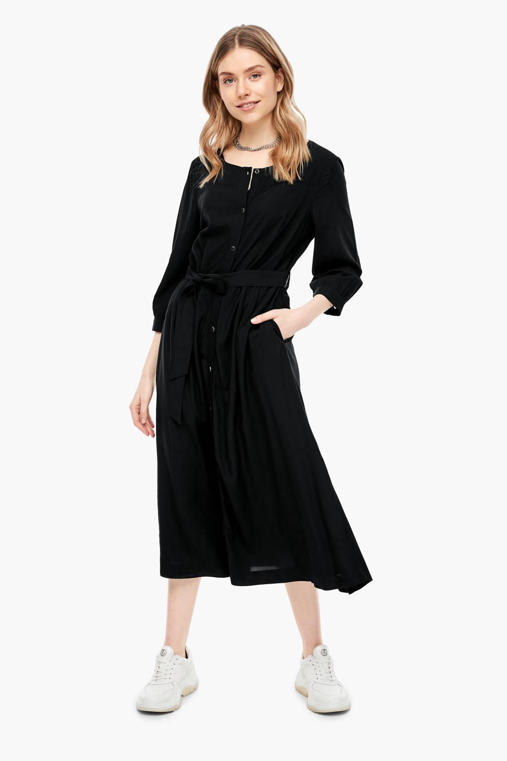 Q/S designed by maxi jurk met ceintuur zwart, Zwart