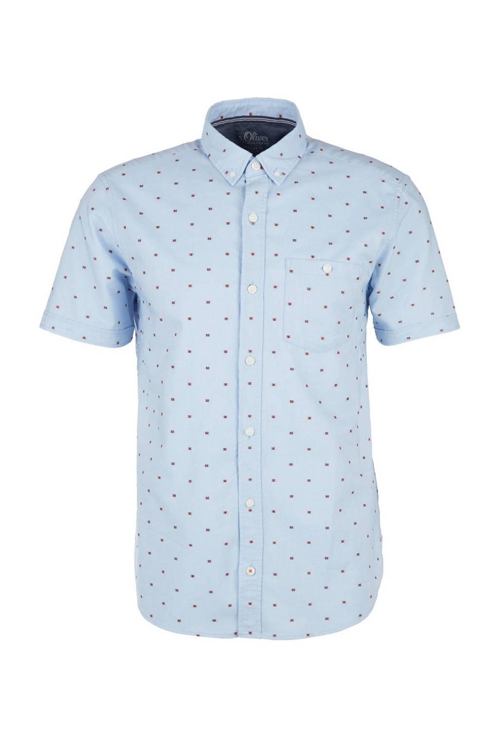s.Oliver regular fit overhemd met all over print lichtblauw, Lichtblauw