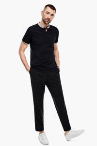 s.Oliver BLACK LABEL slim fit polo met contrastbies en contrastbies zwart, Zwart
