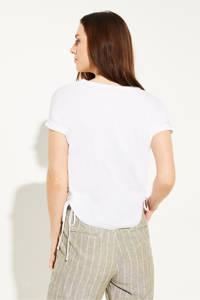 comma casual identity T-shirt met printopdruk en pailletten wit, Wit