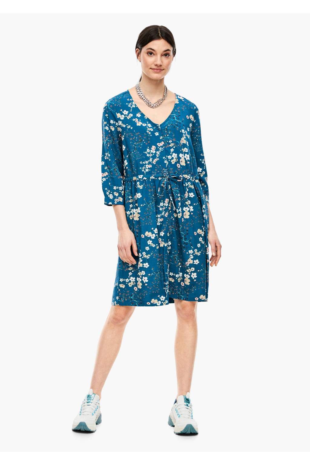 Q/S designed by gebloemde jurk blauw, Blauw