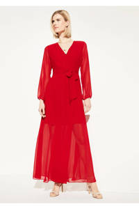 comma semi-transparante maxi jurk met ceintuur rood, Rood