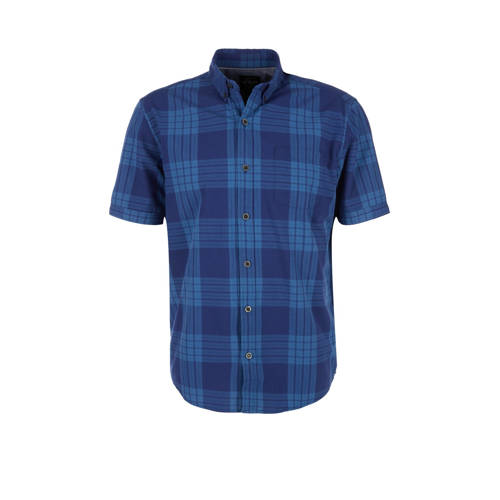 s.Oliver geruit regular fit overhemd blauw