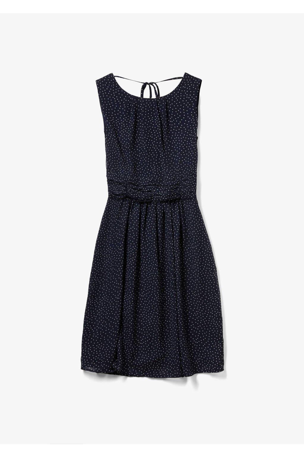 s.Oliver A-lijn jurk met stippen en plooien marine, Marine