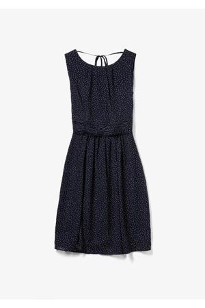 A-lijn jurk met stippen en plooien marine