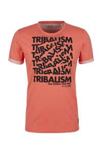 Q/S designed by T-shirt met printopdruk oranje, Oranje