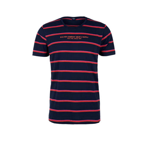 s.Oliver gestreept T-shirt donkerblauw/rood