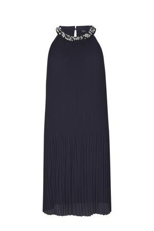halter jurk met kraaltjes marine