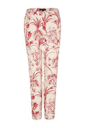 slim fit broek met all over print ecru/rood