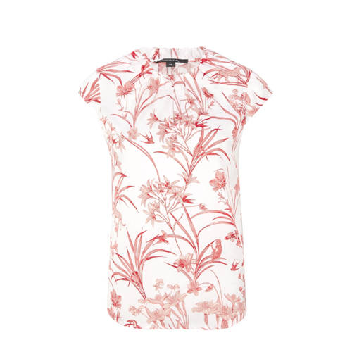 comma top met all over print en ruches wit/rood