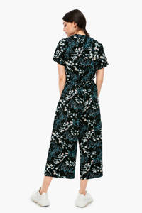 Q/S designed by jumpsuit met all over print zwart/turquoise/wit, Zwart/turquoise/wit