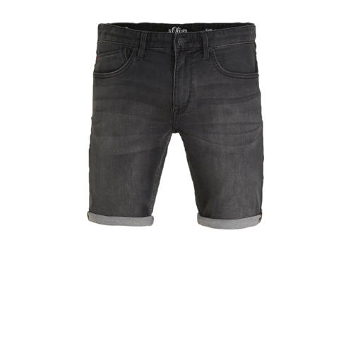 s.Oliver regular fit jeans short antraciet