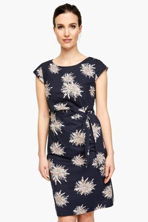 jurk met all over print marine/ecru
