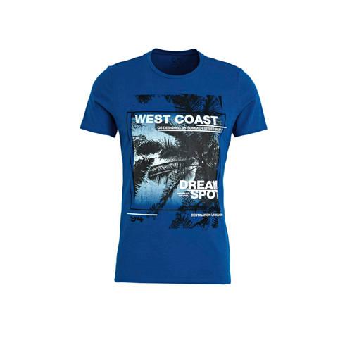 Q/S designed by T-shirt met printopdruk blauw