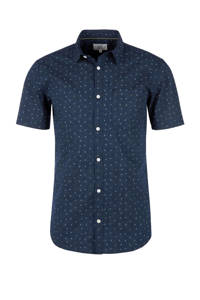Q/S designed by regular fit overhemd met all over print donkerblauw, Donkerblauw