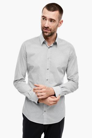 slim fit overhemd met all over print antraciet