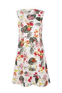 s.Oliver A-lijn jurk met all over print wit/multi, Wit/multi