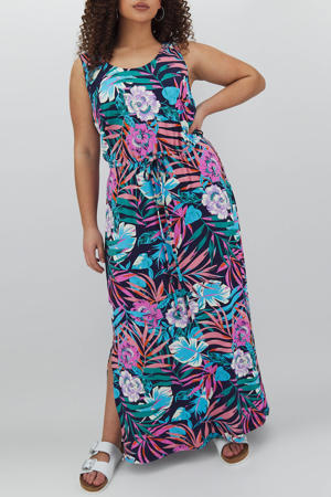 maxi jurk met all over print blauw/multi