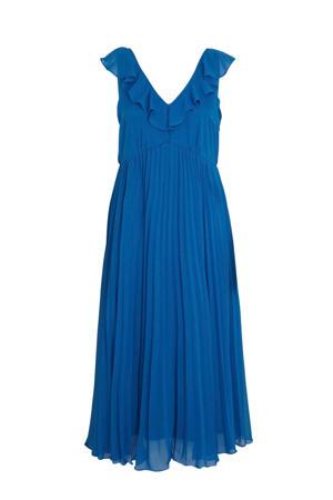 maxi jurk met volant blauw