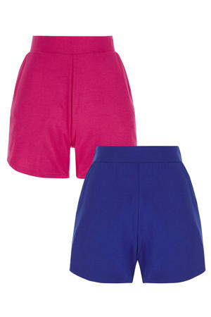 regular fit short blauw/fuchsia set van 2