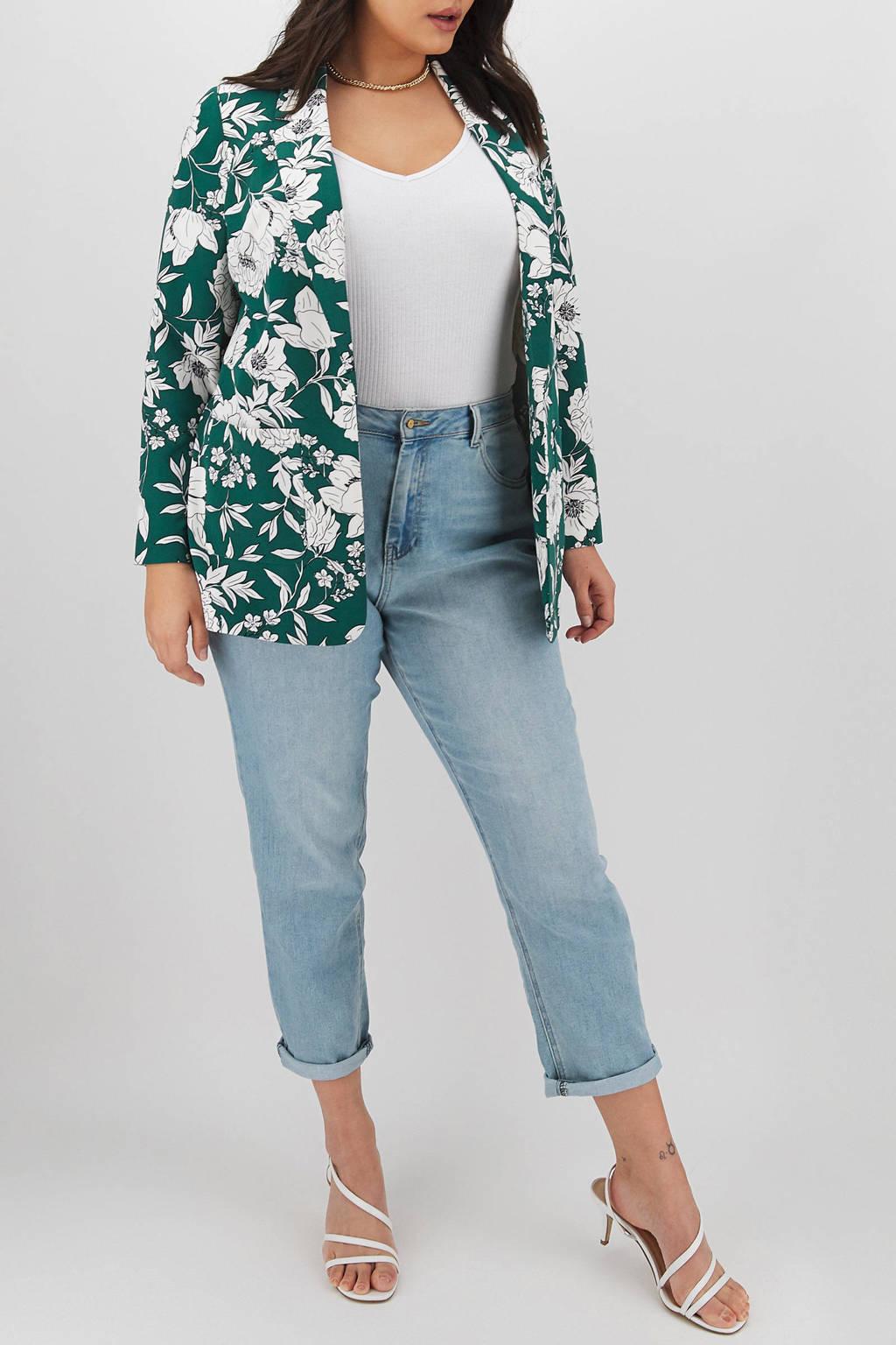 Simply Be Capsule gebloemde blazer groen/wit, Groen/wit