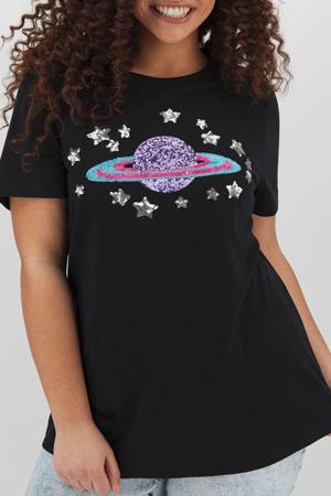 T-shirt met printopdruk en pailletten zwart