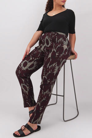 high waist tapered fit broek met bladprint grijs/bordeaux