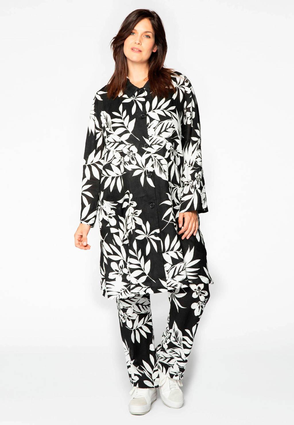 Yoek gebloemd linnen jack zwart/wit, Zwart/wit