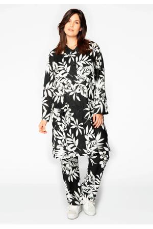 gebloemd linnen jack zwart/wit
