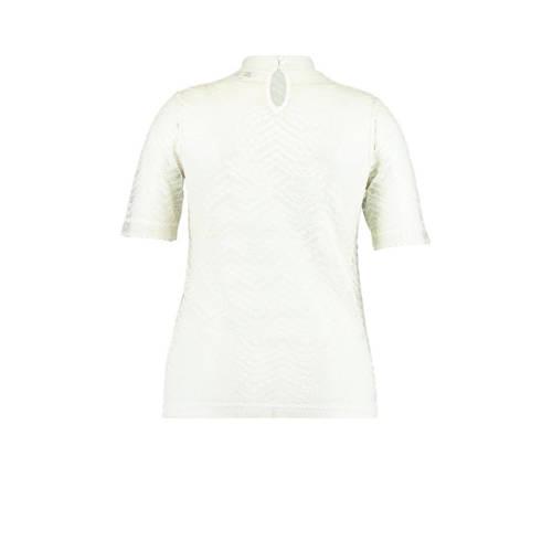 MS Mode semi-transparante top met kant wit
