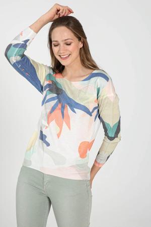 fijngebreide trui met all over print wit/blauw/groen