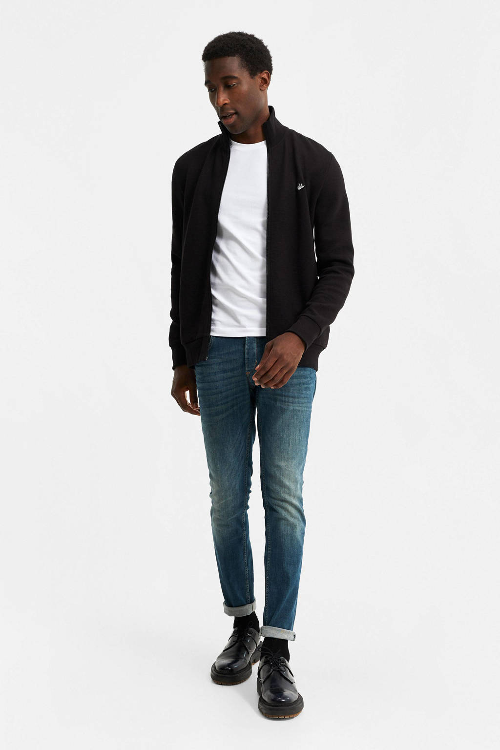 WE Fashion vest met textuur zwart, Zwart