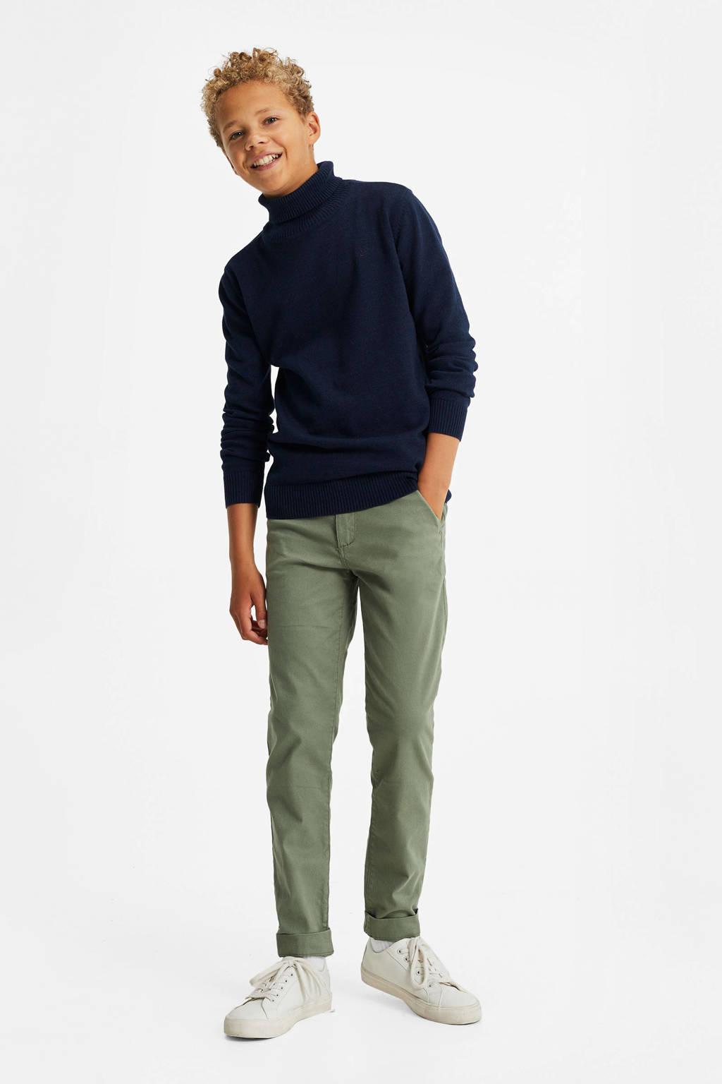 WE Fashion slim fit broek olijfgroen, Olijfgroen