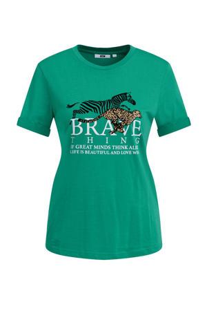 T-shirt met printopdruk lawngreen