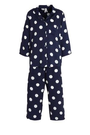 pyjama met stippen marine/wit