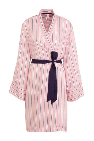 kimono met strepen roze/zwart