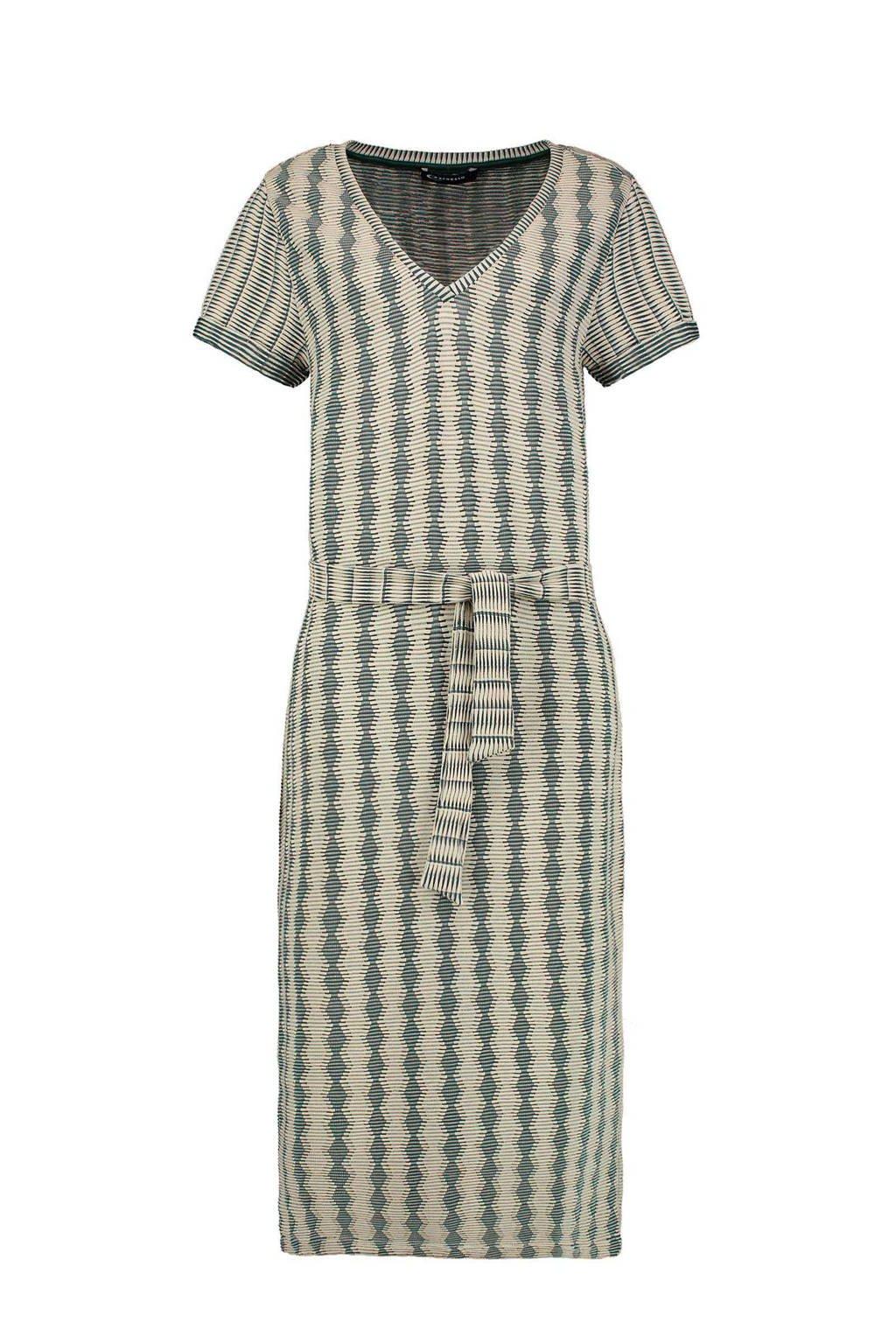 Expresso jurk met all over print en ceintuur zand/kaki, Zand/kaki