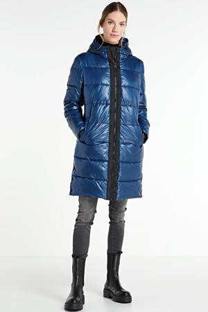 gewatteerde jas kobaltblauw
