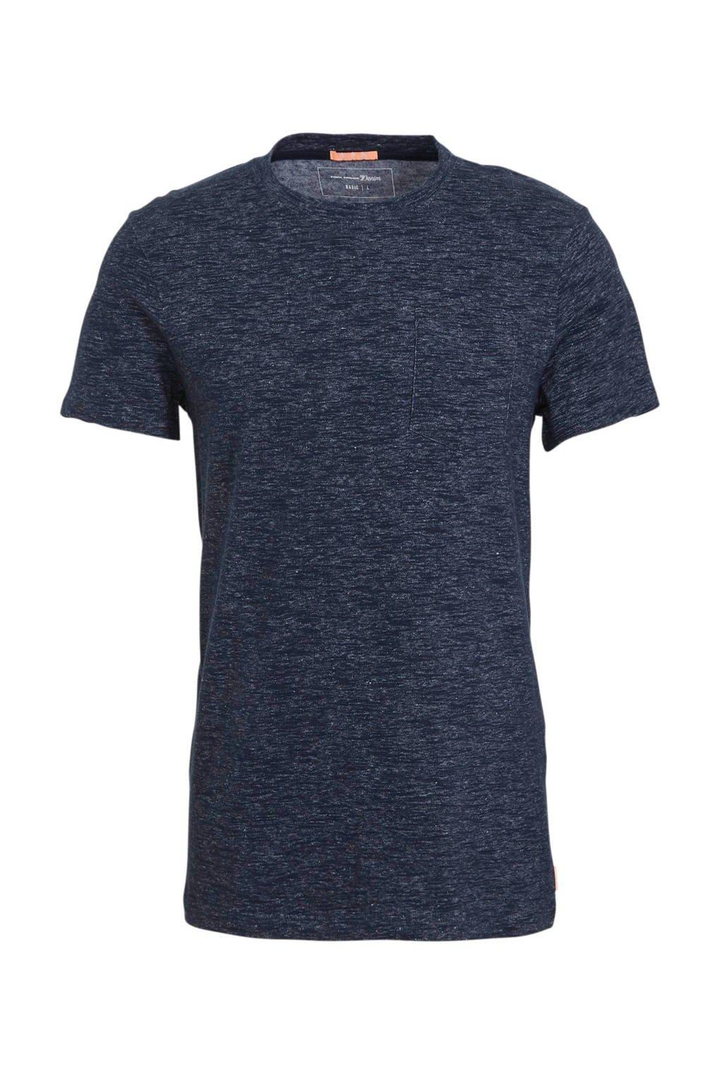 Tom Tailor gemêleerd T-shirt donkerblauw, Donkerblauw