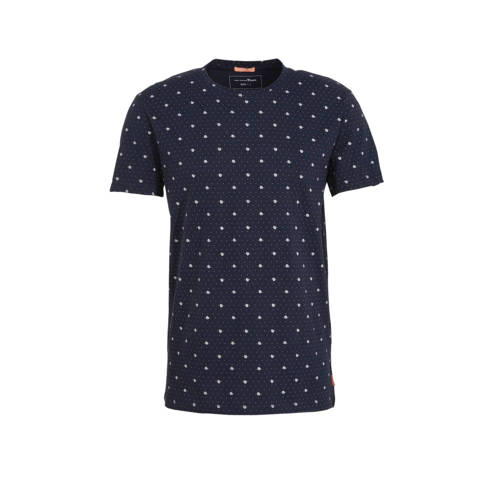 Tom Tailor T-shirt met all over print donkerblauw
