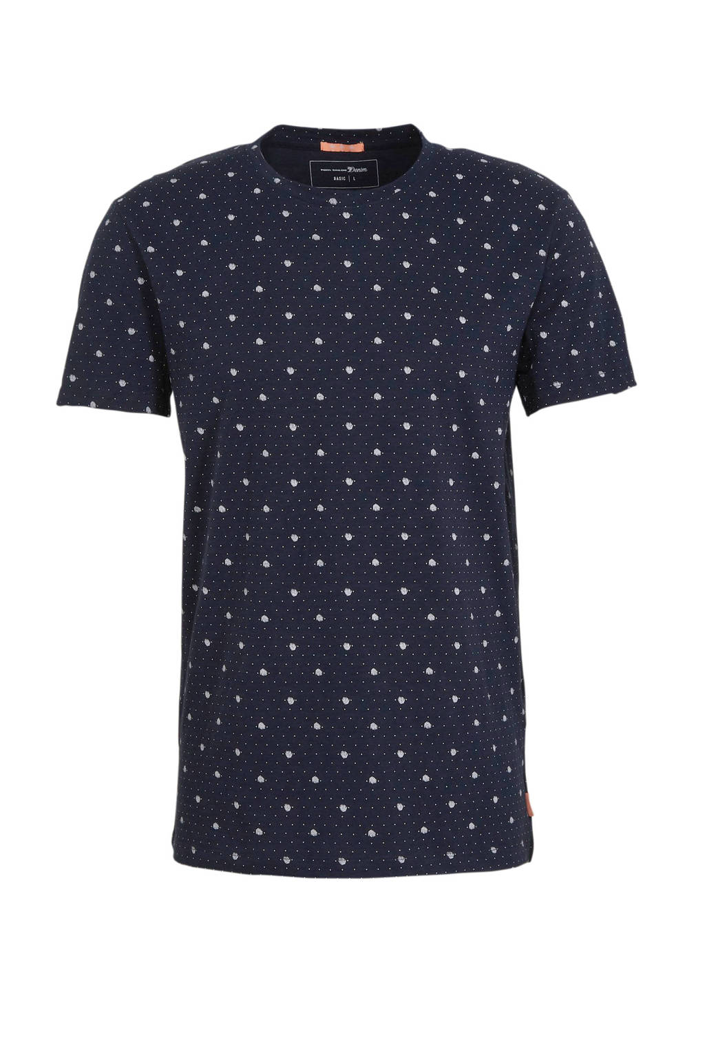 Tom Tailor T-shirt met all over print donkerblauw, Donkerblauw
