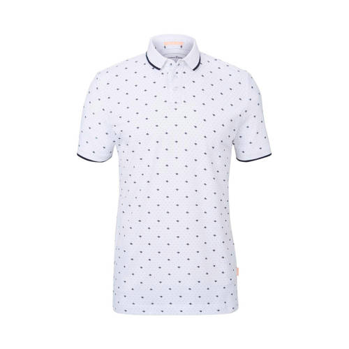 Tom Tailor slim fit polo met all over print wit