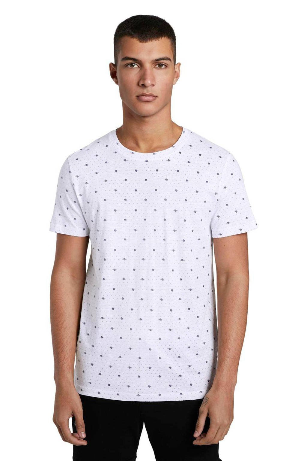 Tom Tailor T-shirt met all over print wit, Wit