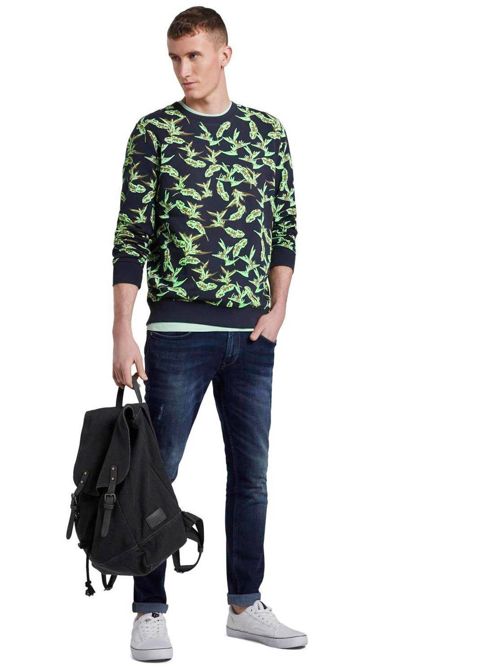 Tom Tailor sweater met all over print groen, Groen