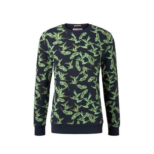 Tom Tailor sweater met all over print groen